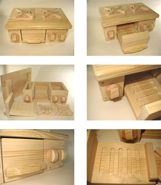 SayWoodwork(セイウッドワーク)コンロ台型おもちゃ箱GD-2